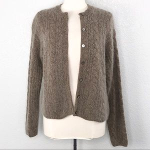 Lord & Taylor Cable Knit Angora Blend Cardigan M
